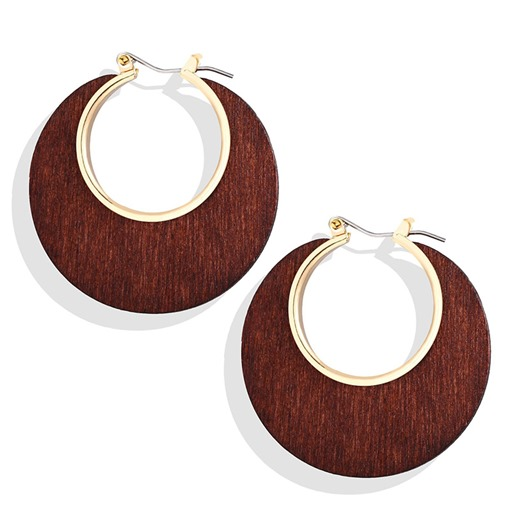 Wood European Hoop Earrings