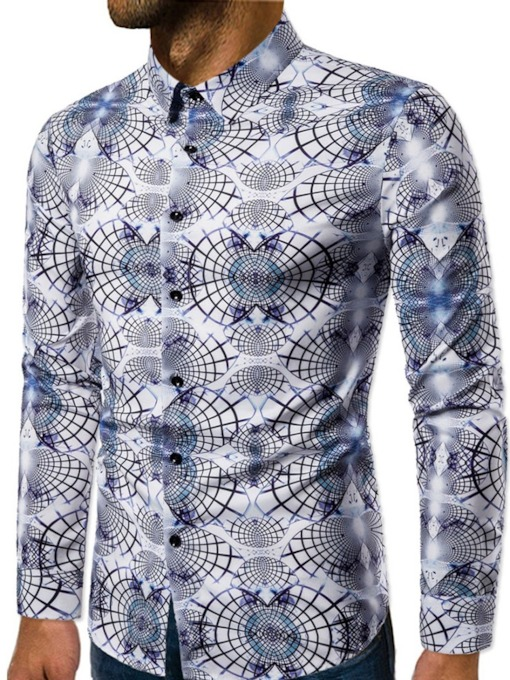 Color Block Print European Lapel Slim Men's Shirt