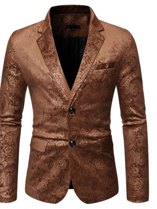 Button Loose Notched Lapel Single-Breasted Men's Leisure Blazers