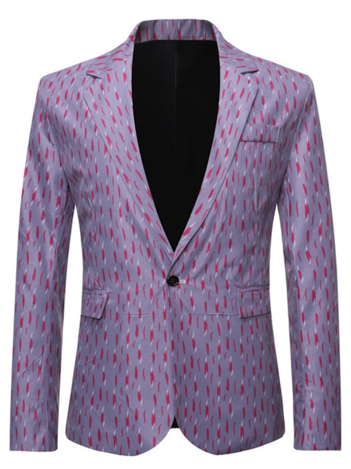 Color Block Notched Lapel One Button Slim Men's Leisure Blazers