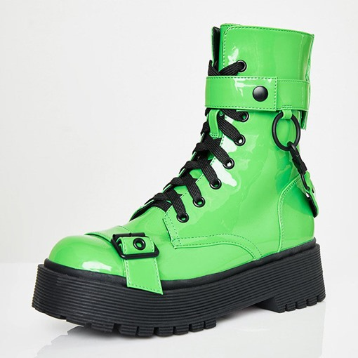 Neon Customized Side Zipper Round Toe Martin Boots