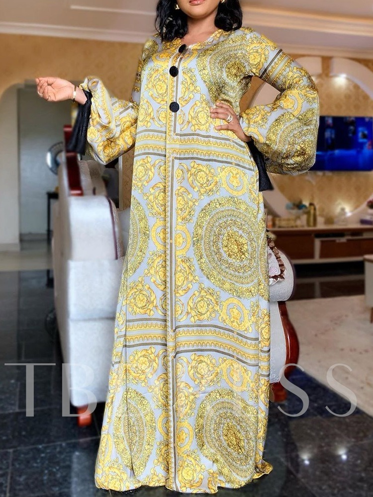 Floor-Length Long Sleeve Print Pullover Women's Maxi Dress