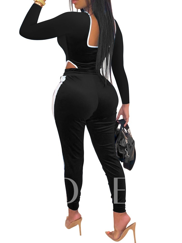 Sexy Color Block Ankle Length Skinny Women's Jumpsuit