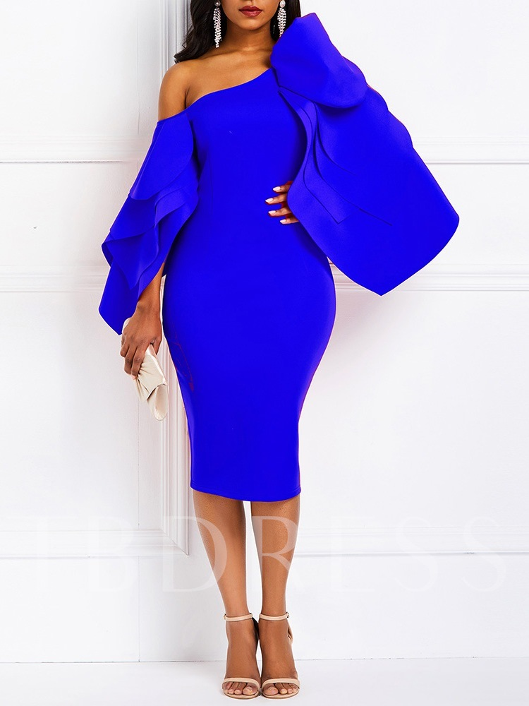 Split Mid-Calf Long Sleeve Ruffle Sleeve Women's Bodycon Dress
