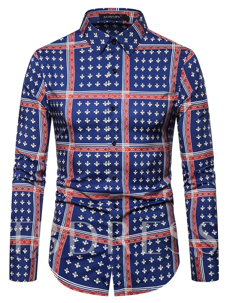 Print Lapel Color Block England Single-Breasted Men's Shirt