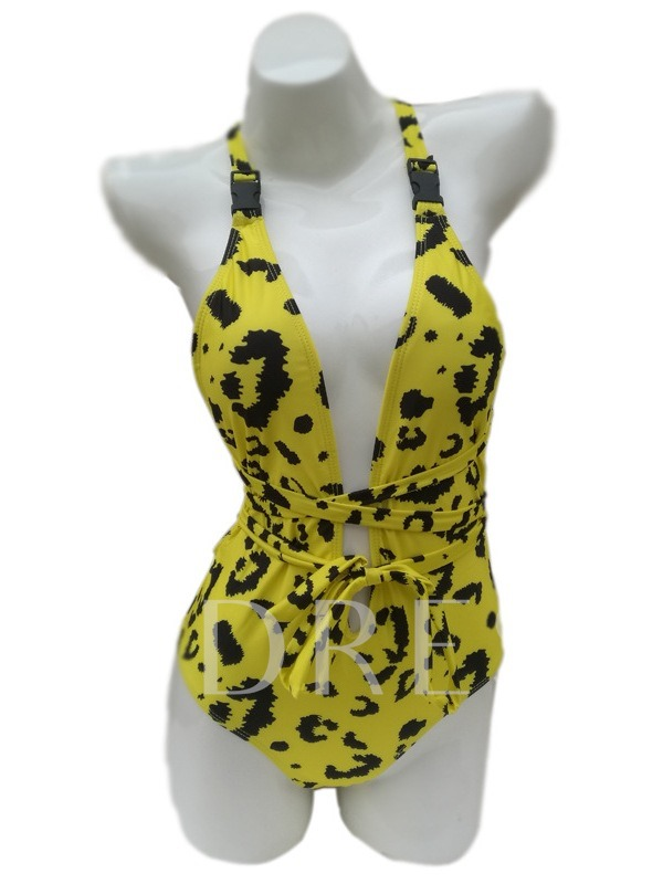Leopard Print One Piece Sexy Women's Swimwear