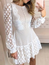 Round Neck Above Knee Lace Long Sleeve Pullover Women's Lace Dress