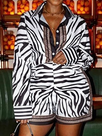 Zebra Stripe T-Shirt Lapel Womens Two Piece Sets Zebra Stripe T-Shirt Lapel Women's Two Piece Sets