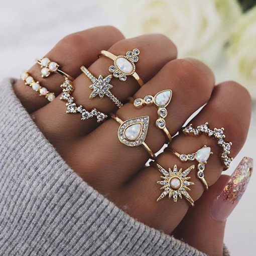Diamante Alloy Romantic Birthday Rings