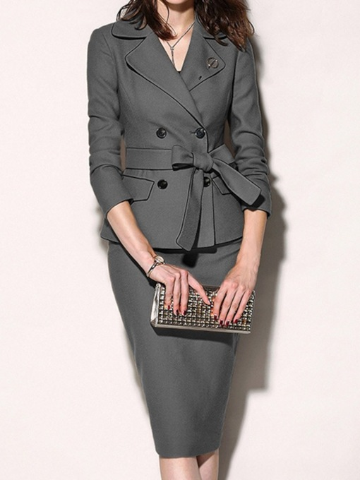 Plain Office Lady Lace-Up Notched Lapel Women's Two Piece Sets