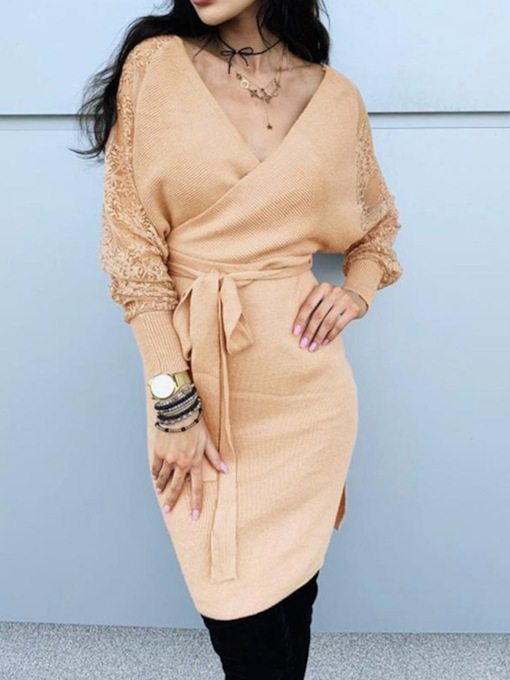V-Neck Lace Long Sleeve Above Knee Bodycon Women's Sweater Dress