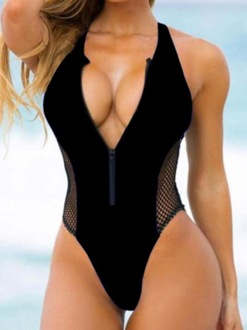 Patchwork Plain One Piece Sexy Women's Swimwear