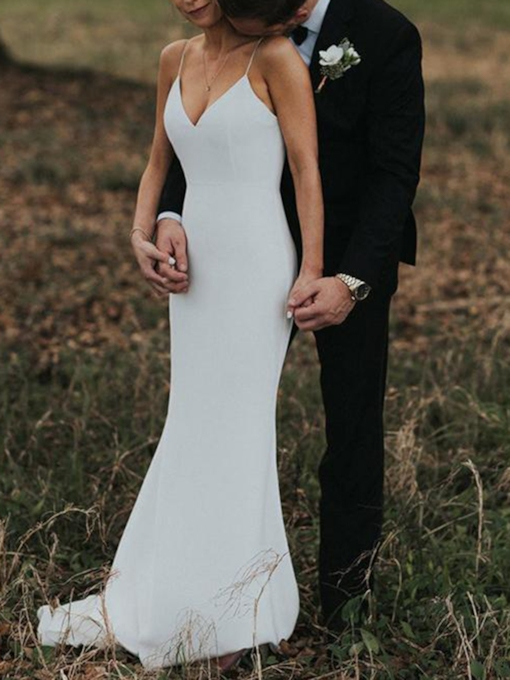 Spaghetti Straps V-Back Sheath Outdoor Wedding Dress 2019