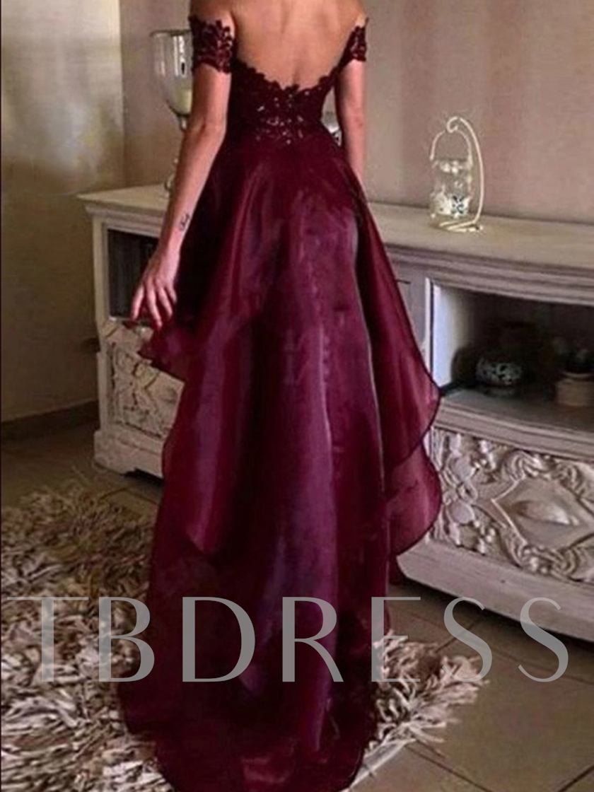 Asymmetry Short Sleeves Appliques Prom Dress 2019