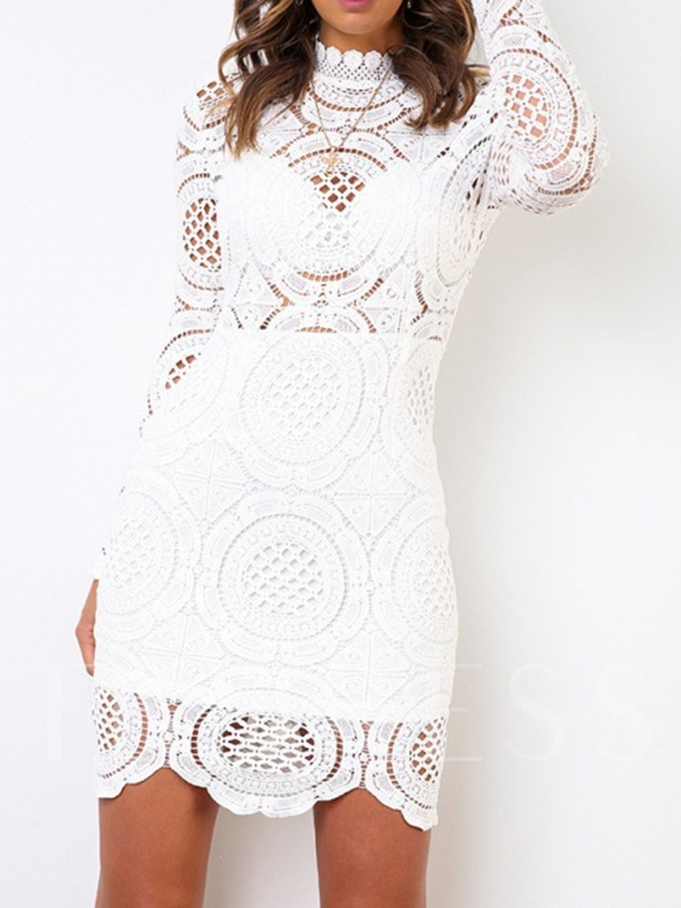 Above Knee Hollow Long Sleeve Regular Women's Lace Dress
