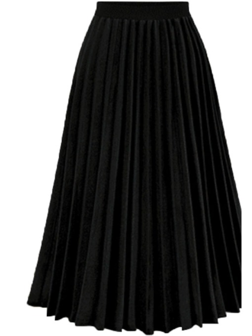 Plain Patchwork Mid-Calf Pleated Women's Skirt