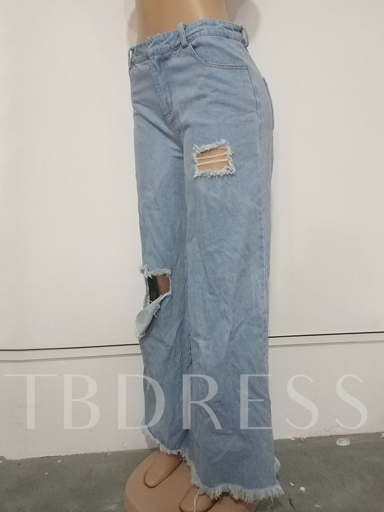 Hole Plain Loose Wide Legs Women's Casual Pants