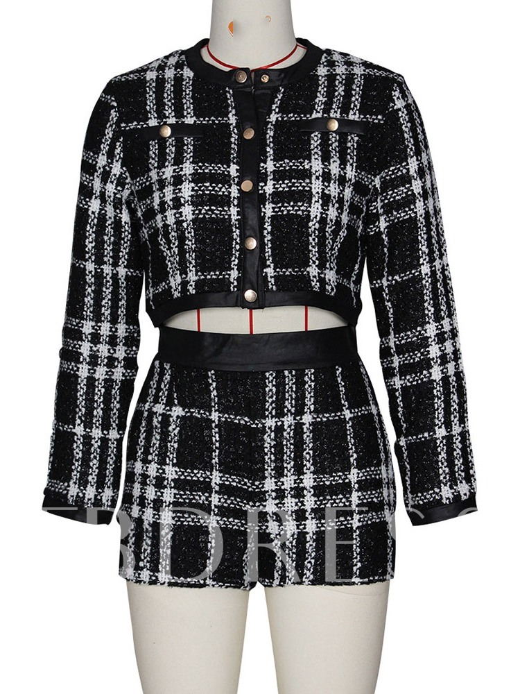 Shorts Plaid Sexy Women's Two Piece Sets