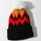 Pompon Acrylic Patchwork Women's Knitted Hat