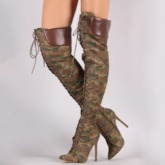 Pointed Toe Stiletto Heel Customized Camouflage Thigh High Boots