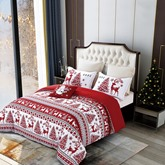 Cotton Christmas Four-Piece Set Duvet Cover Set Wash Reactive Printing