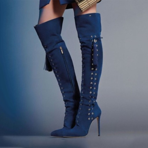 Stiletto Heel Side Zipper Customized Pointed Toe Thigh High Boots