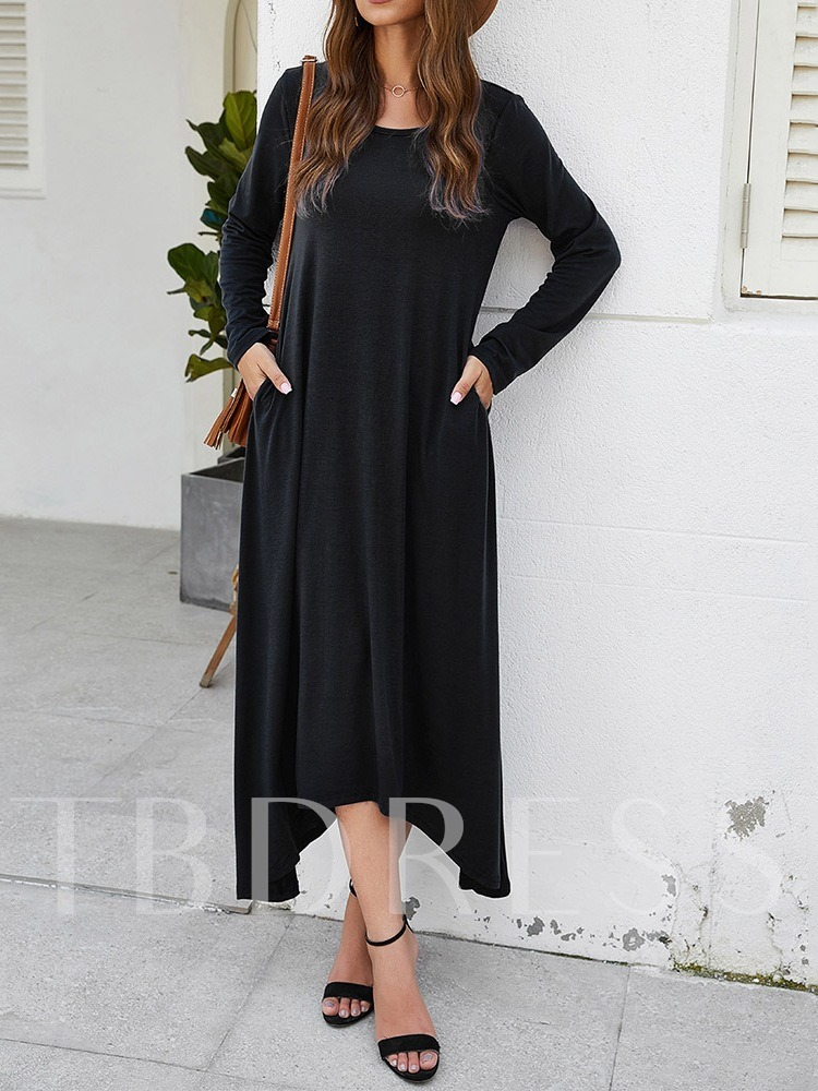 Round Neck Long Sleeve Pocket Mid-Calf Pullover Women's Day Dress