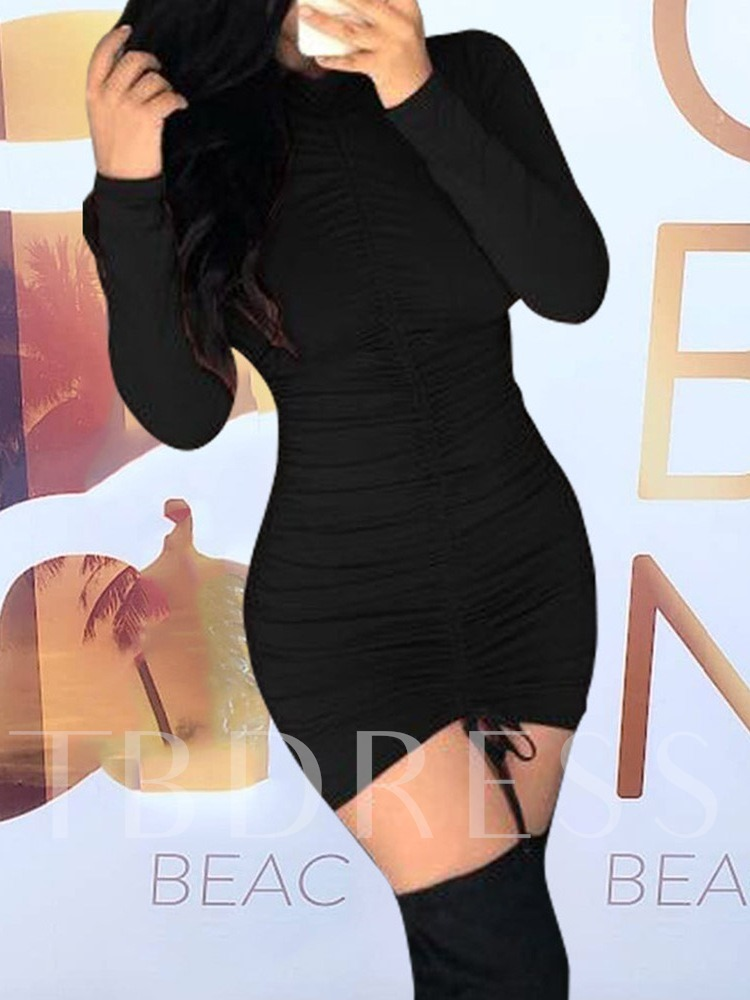 Above Knee Stand Collar Pleated Long Sleeve Pullover Women's Bodycon Dress