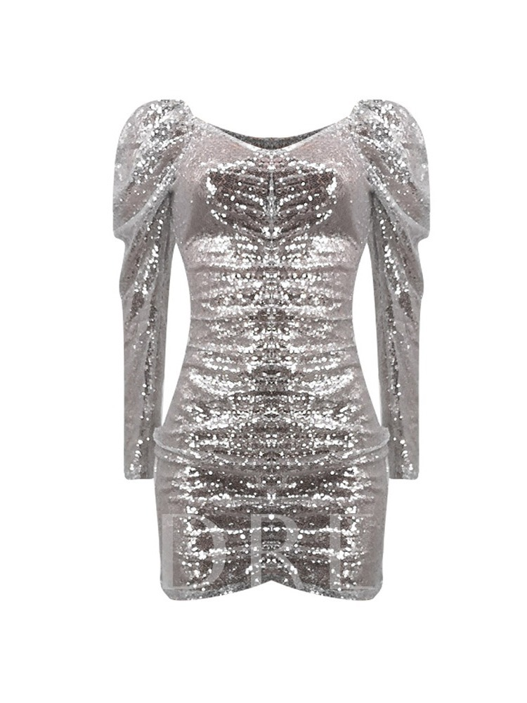 Sequins V-Neck Above Knee Long Sleeve Party/Cocktail Women's Bodycon Dress