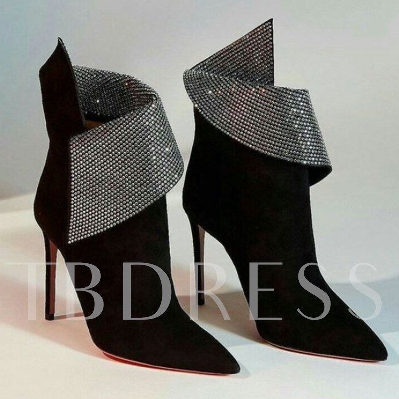 Customized Pointed Toe Stiletto Heel Rhinestone Ankle Boots