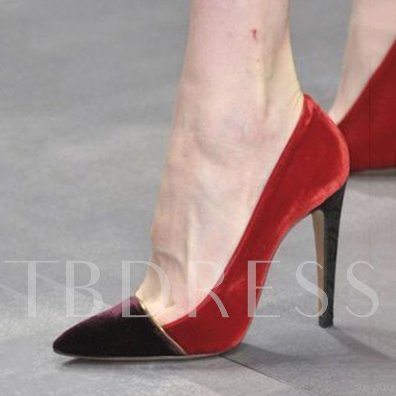 Customized Stiletto Heel Slip-On Pointed Toe Color Block Pumps