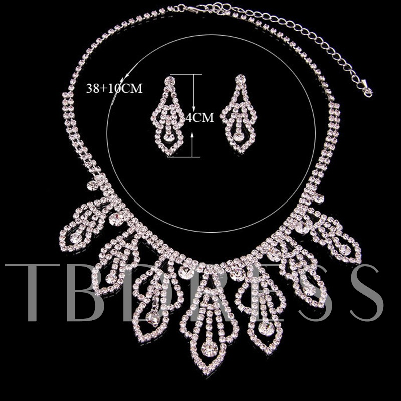 Necklace Plain Diamante Party Prom Jewelry Sets