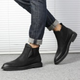 Slip-On Plain Round Toe PU Fashion Men's Ankle Boots