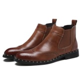 Slip-On Plain Round Toe PU Men's Ankle Boots