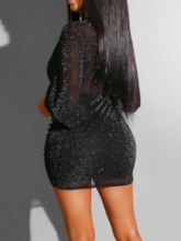 V-Neck Lace-Up Above Knee Long Sleeve Fall Women's Bodycon Dress