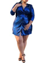Plus Size Sequins Three-Quarter Sleeve Above Knee High Waist Women's Dress