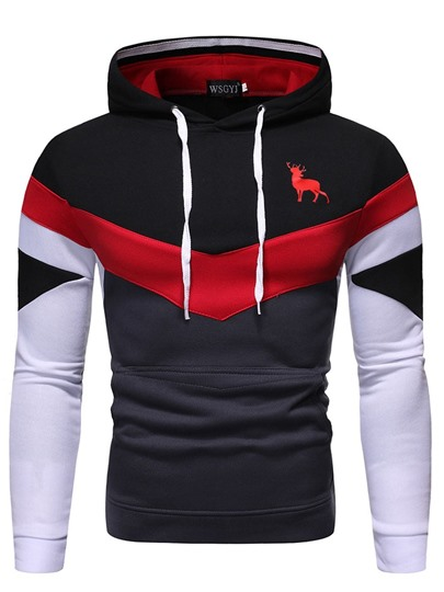 Color Block Print Pullover Mens Hoodies Color Block Print Pullover Men's Hoodies