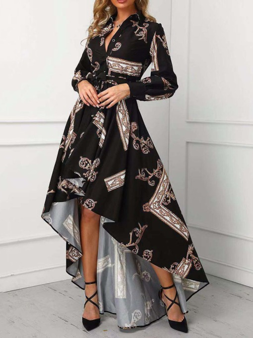 Lapel Asymmetric Floor-Length Long Sleeve Regular Women's Maxi Dress