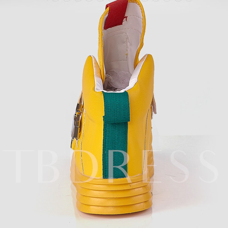 High Top Color Block Round Toe Skate Shoes