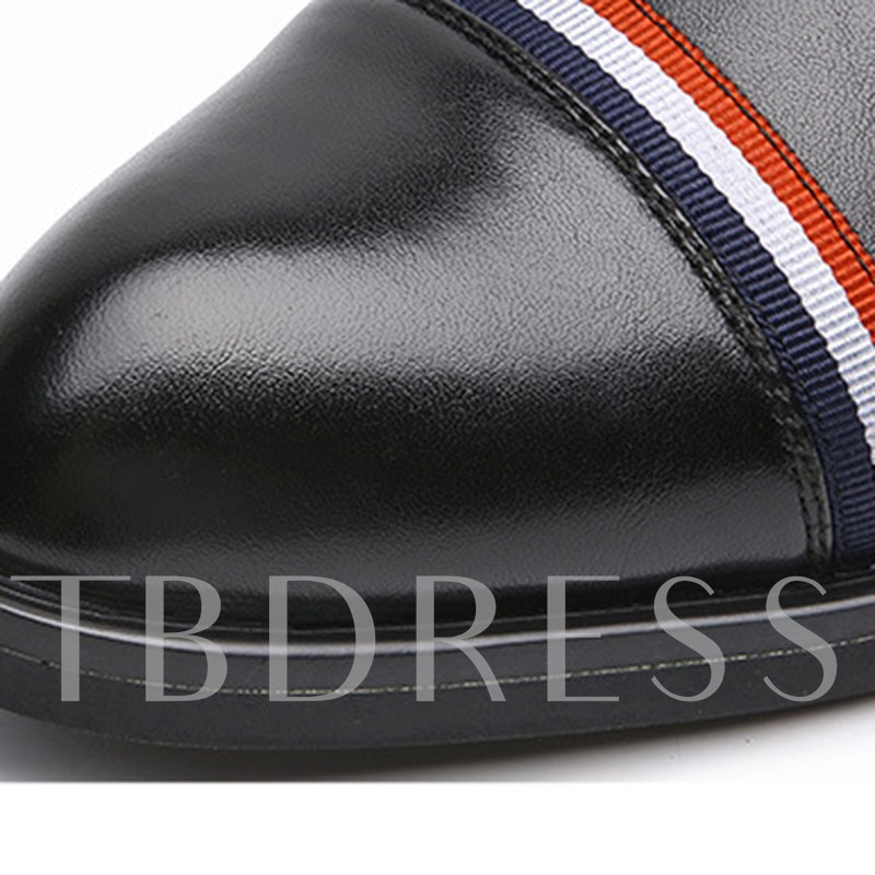 Color Block Pointed Toe PU Men's Leather Shoes