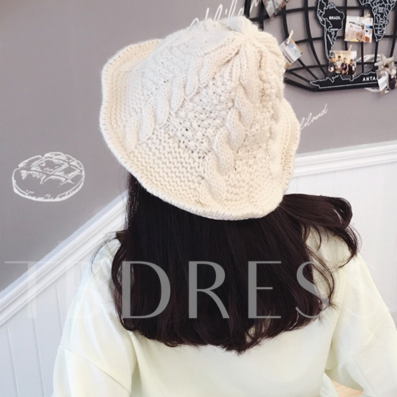 Acrylic Rolled Brim Cone Shape Knitted Hat