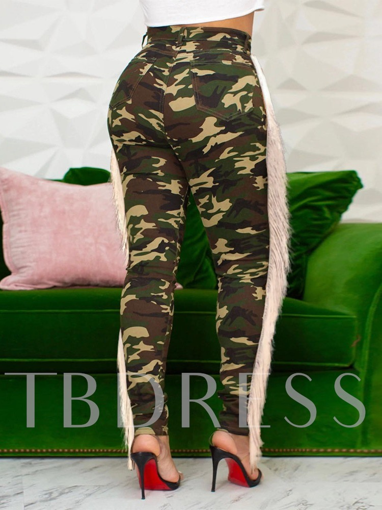Pencil Pants Patchwork Camouflage Skinny Women's Jeans