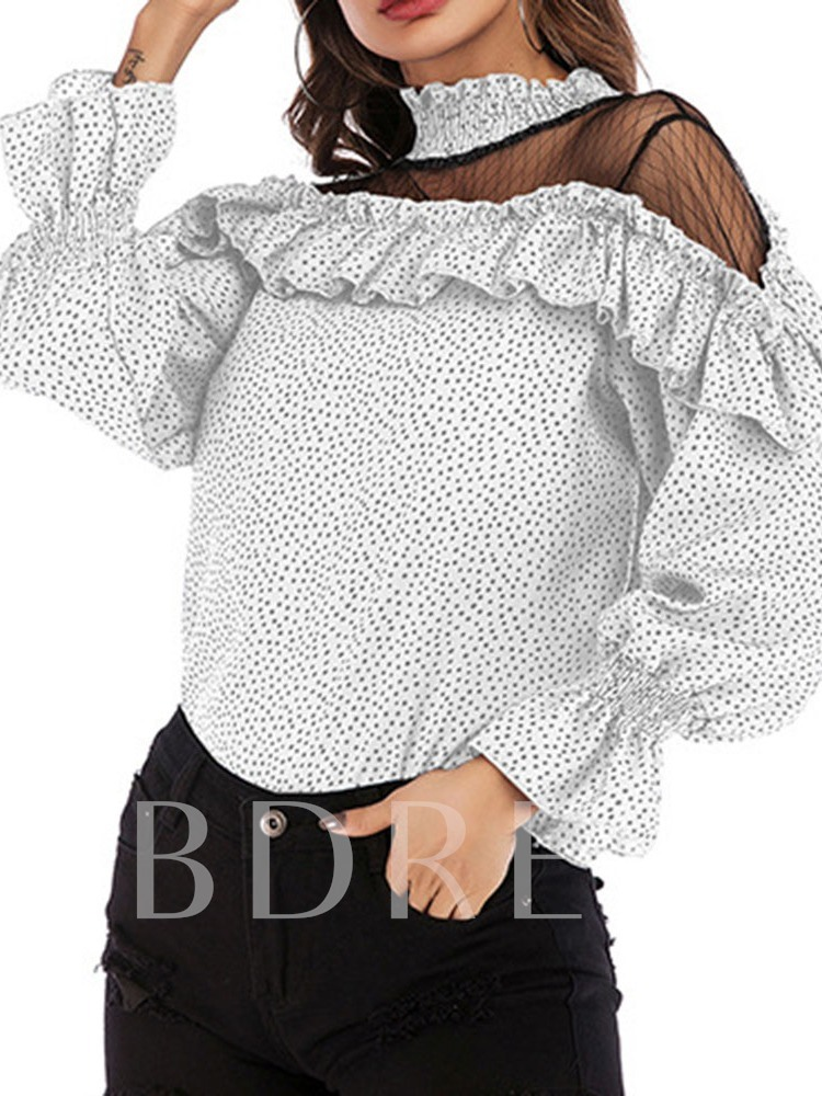 Round Neck Flare Sleeve Polka Dots Long Sleeve Women's Blouse