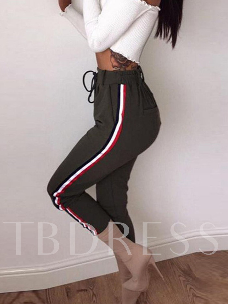 Zipper Skinny Color Block Ankle Length Women's Casual Pants