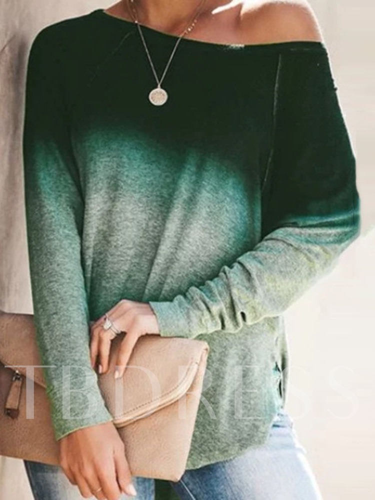 Long Sleeve Mid-Length Color Block Round Neck Fall Women's T-Shirt