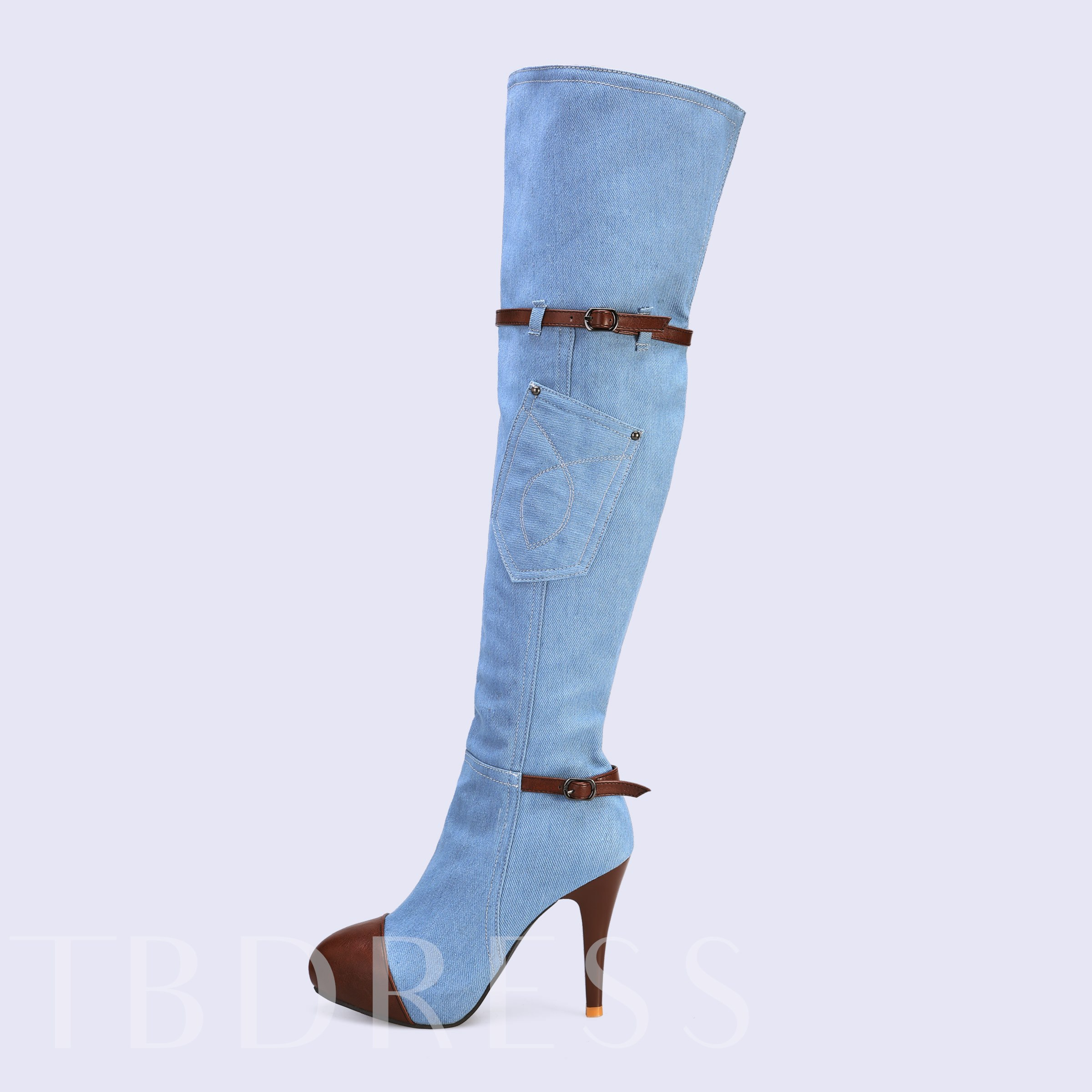 Side Zipper Stiletto Heel Pointed Toe Patchwork Knee High Boots