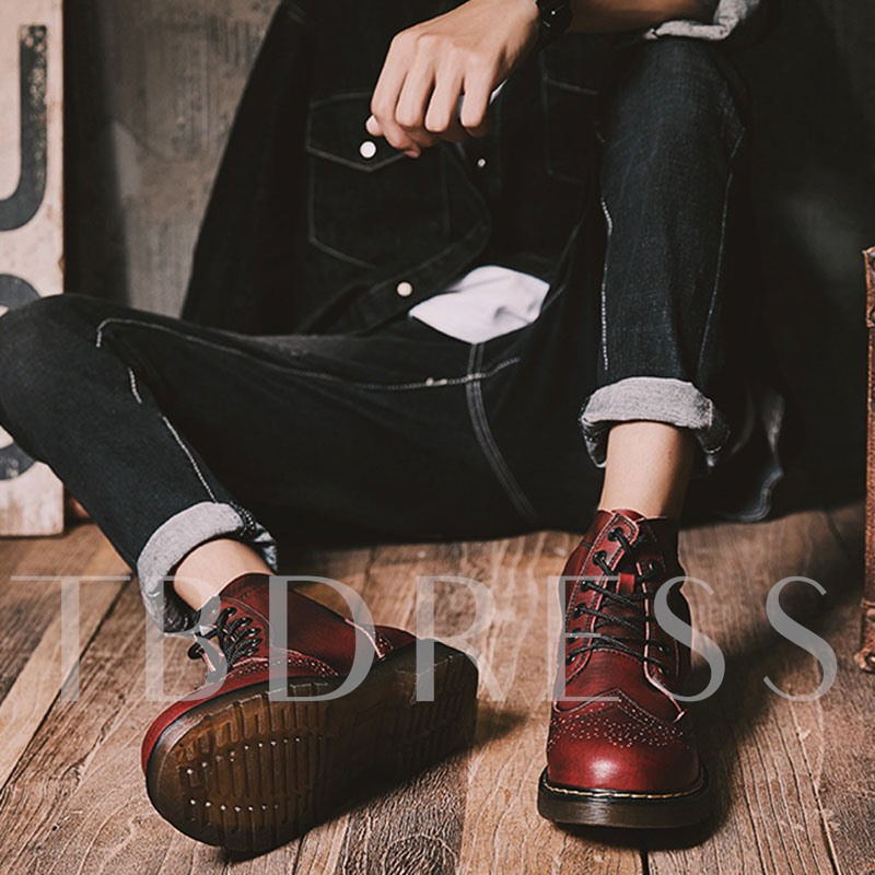 Round Toe Lace-Up Front PU Vintage Men's Ankle Boots