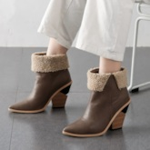 Color Block Slip-On Pointed Toe Purfle Ankle Boots