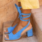 Chunky Heel Open Toe Lace-Up Vintage Women's Sandals