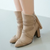 Back Zip Color Block Round Toe Chunky Heel Ankle Boots